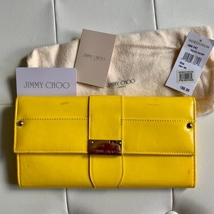 Yellow Patent Jimmy Choo Clutch